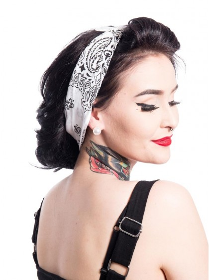 "Bandana Foulard Rockabilly Pin-Up Vintage Rockabella (by Evil Clothing) ""Band One White"" - rockangehell.com"