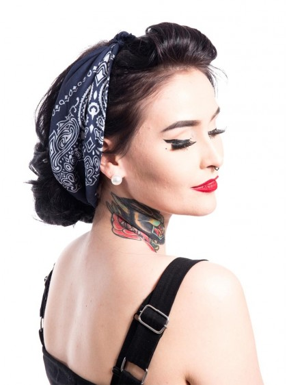 "Bandana Foulard Rockabilly Pin-Up Années 50 Rockabella (by Evil Clothing) ""Band One Blue"" - rockangehell.com"