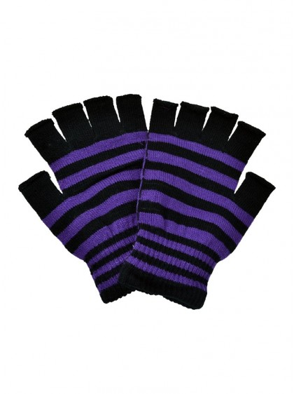 "Mitaines à rayures violettes et noires rock punk Poizen Industries ""Purple Stripes"""