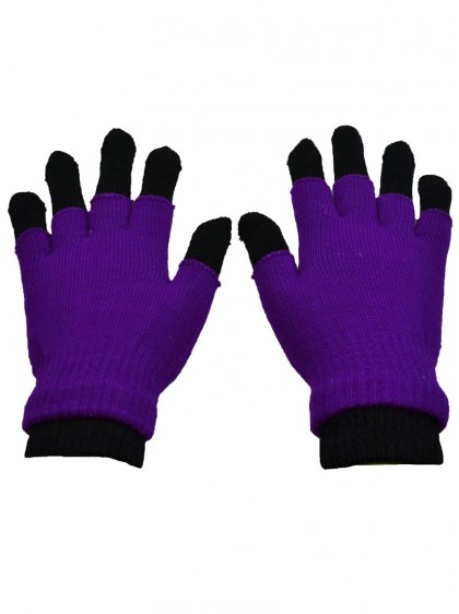"Gants Mitaines 2 en 1 Rock Gothique Poizen Industries ""Double Purple"""