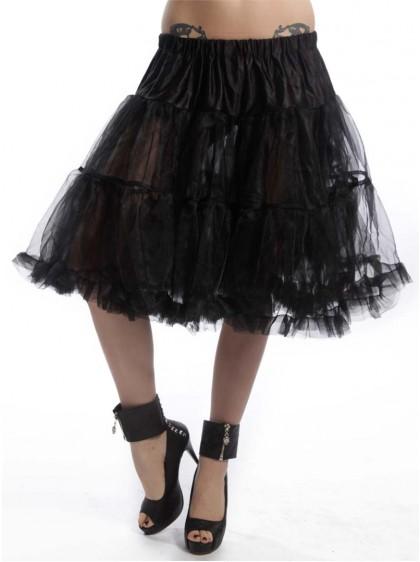"Jupon 52 cm Rockabilly Gothique Poizen Industries (Evil Clothing) ""Midi Petticoat Black"" - rockangehell.com"