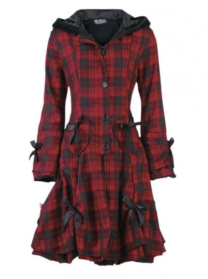 """Manteau Punk Gothique Poizen Industries (Evil Clothing) """"Alice Tartan"""""""