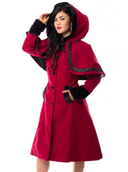 "Manteau Lolita Gothique Rockabilly Vixxsin (Evil Clothing) ""Elena Red"" - rockangehell.com"