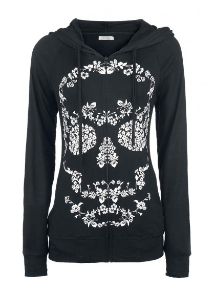 "Veste Sweat Rock Gothique Innocent (Evil Clothing) ""Flower Skull"""