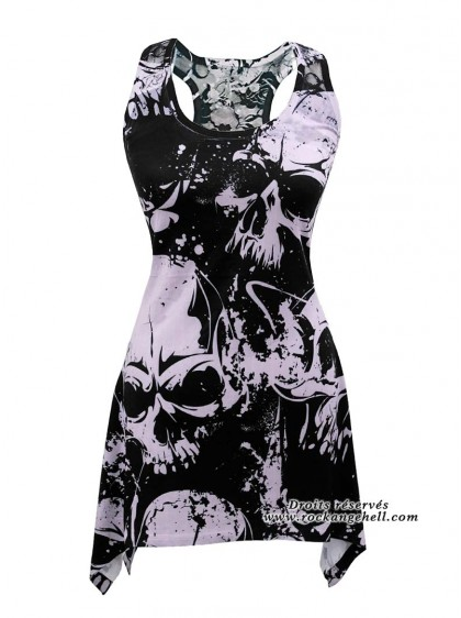 "Débardeur Rock Gothique Innocent (Evil Clothing) ""Skull"" - rockangehell.com"