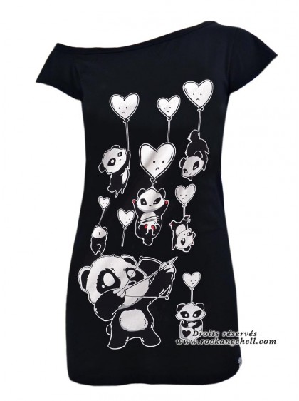 "Débardeur Rock Gothique Killer Panda (Evil Clothing) ""Shooting Hearts"" - rockangehell.com"