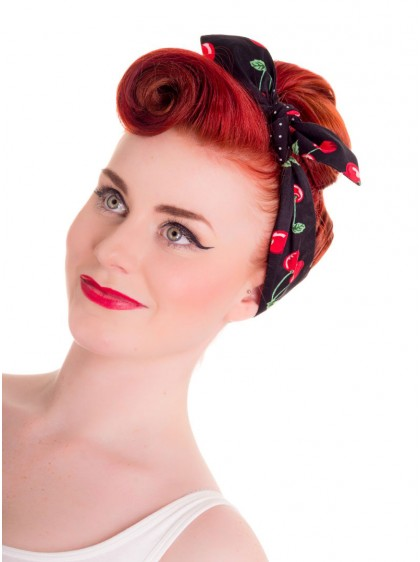 "Foulard Cheveux Réversible Rockabilly Vintage Retro Hell Bunny ""Cherry"""
