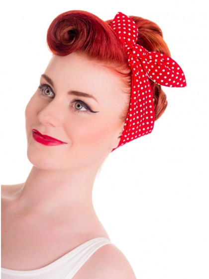 "Foulard Cheveux Réversible Retro Vintage Rockabilly Hell Bunny ""Poppy"""