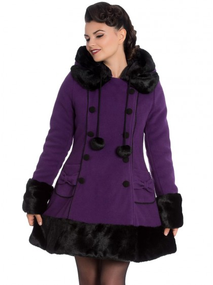 "Manteau Violet Gothique Rockabilly Lolita Hell Bunny ""Sarah Jane Purple"""