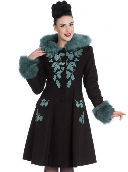 "Manteau Rockabilly Retro Pin-Up Lolita Hell Bunny ""Sherwood Black"" - rockangehell.com"