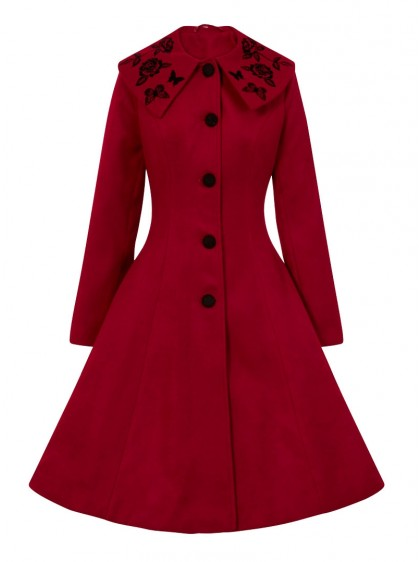 "Manteau Rockabilly Pin-Up Retro Hell Bunny ""Hermione Red"" - rockangehell.com"