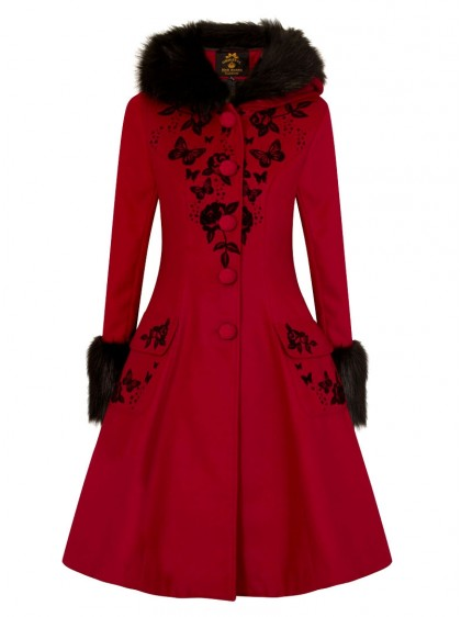 "Manteau Pin-Up Rockabilly Lolita Hell Bunny ""Anderson Red"" - rockangehell.com"