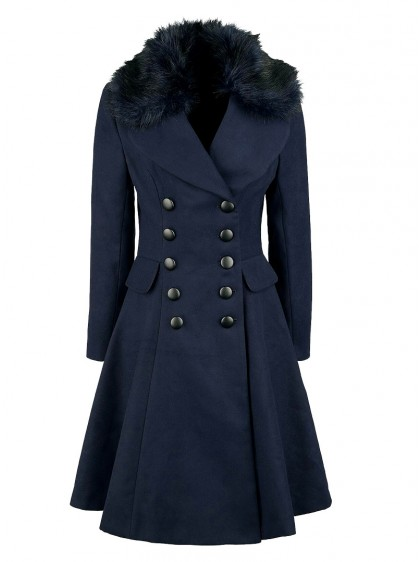 "Manteau Pin-Up Rockabilly Retro Vintage Hell Bunny ""Milan Navy"" - rockangehell.com"