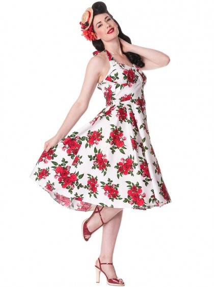 "Robe Vintage Retro Rockabilly Hell Bunny ""White Cannes"" - rockangehell.com"
