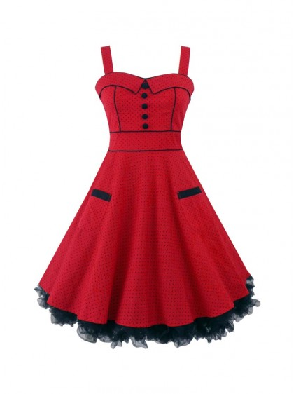 "Robe Courte Rockabilly Années 50' Vintage Hell Bunny ""Mini Vanity Red"" - rockangehell.com"