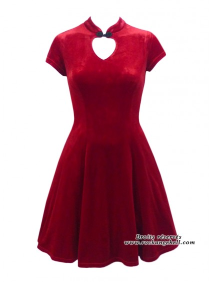 "Robe Rockabilly Gothique Spin Doctor ""Mica Red Velvet"" - rockangehell.com"