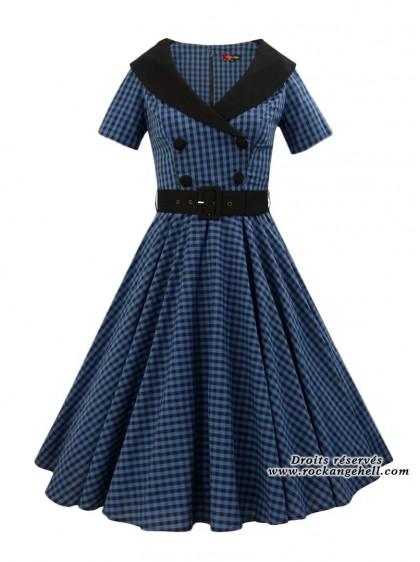 "Robe Rockabilly Retro Vintage Années 50' Hell Bunny ""Bridget Blue"" - rockangehell.com"
