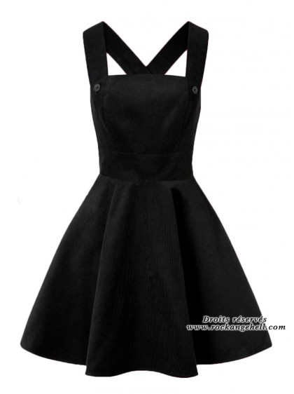 "Robe Pin-Up Rockabilly Rock Hell Bunny ""Wonder Years Pinafore Black"" - rockangehell.com"