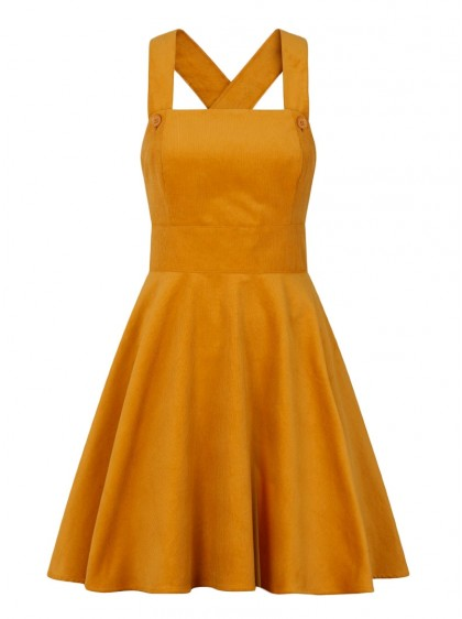 "Robe Rockabilly Pin-Up Rock Hell Bunny ""Wonder Years Pinafore Mustard"" - rockangehell.com"