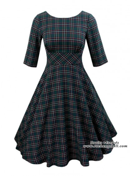 "Robe Rockabilly Retro Pin-Up Hell Bunny ""Peebles Green Tartan"" - rockangehell.com"