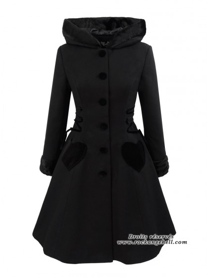 "Manteau Vintage Retro Pin-Up Hell Bunny ""Scarlet Black"" - rockangehell.com"