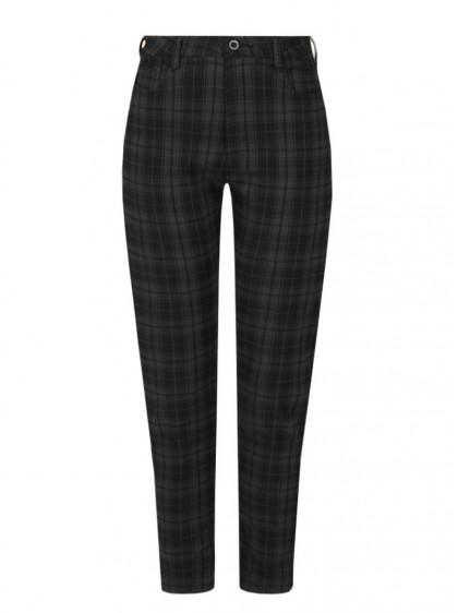 "Pantalon slim écossais gris Punk Rock Hell Bunny ""Grey Tartan"" - rockangehell.com"