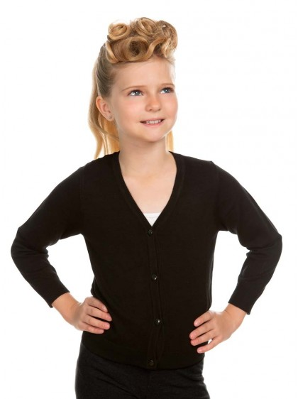 "Gilet Cardigan Enfant Noir Pin-Up Rockabilly Retro HR London ""Black"" - rockangehell.com"