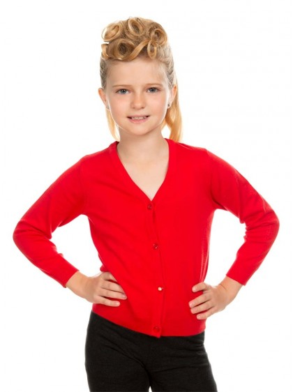 "Gilet Cardigan Enfant Rouge Rockabilly Vintage Retro HR London ""Red""- rockangehell.com"