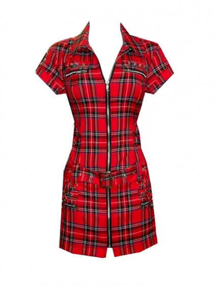 "Robe-tunique punk rock HR London ""Tartan Zip Dress"""