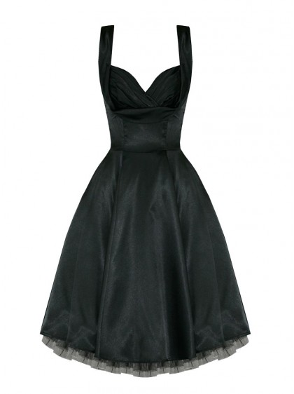 "Robe Pin-UP Rockabilly Vintage Satin noir HR London ""Black Satin"""