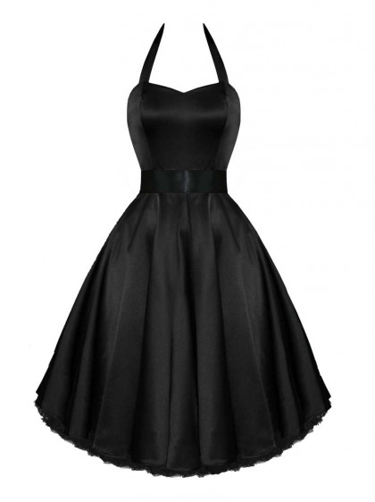 "Robe de soirée Rockabilly Pin-Up Satin HR London ""Black Satin"""