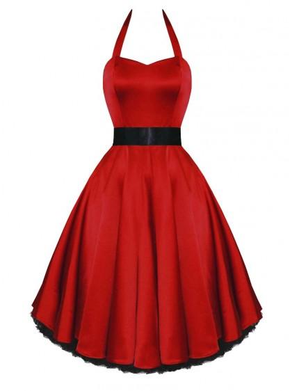 "Robe de soirée Rockabilly Pin-Up Satin HR London ""Red Satin"""