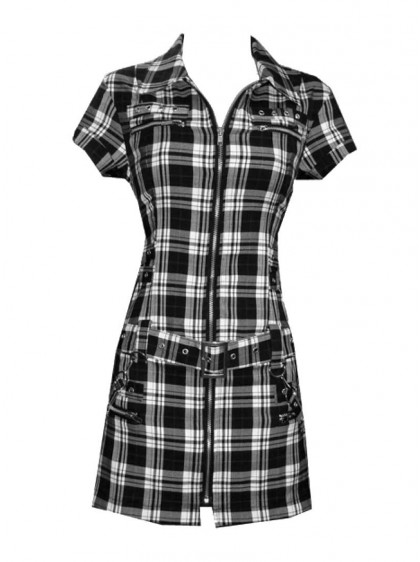 "Robe-tunique punk rock HR London ""White Tartan Zip Dress"""