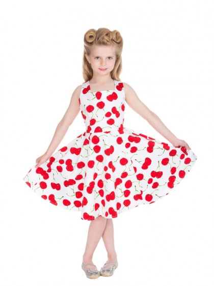 "Robe Enfant Fille Rockabilly Pin-Up Retro HR London ""White Red Cherry"" - rockangehell.com"