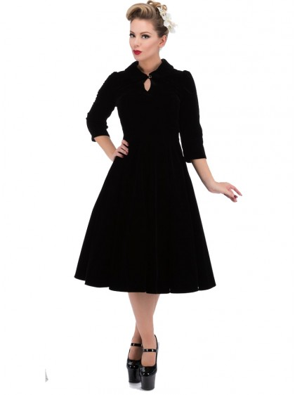 "Robe Velours Rockabilly Gothique HR London ""Black Velvet Glamour"" - rockangehell.com"