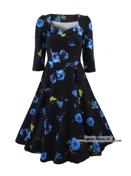 "Robe Retro Pin-Up Rockabilly Vintage HR London ""Blue Melody"" - rockangehell.com"