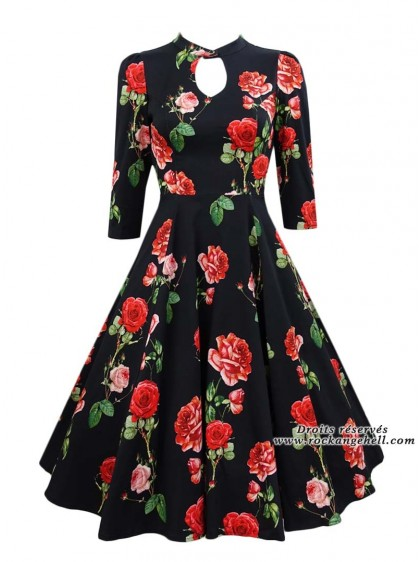 """Robe Pin-Up Rockabilly Vintage HR London """"Black Red Roses"""" - rockangehell.com"""