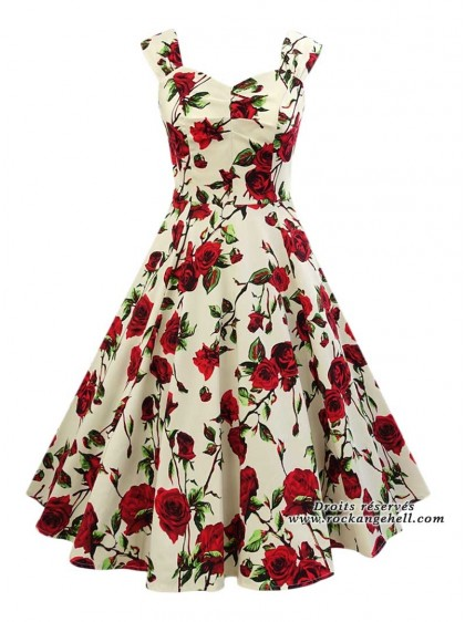 "Robe Pin-Up Rockabilly Retro HR London ""Ditsy Rose Floral"" - rockangehell.com"