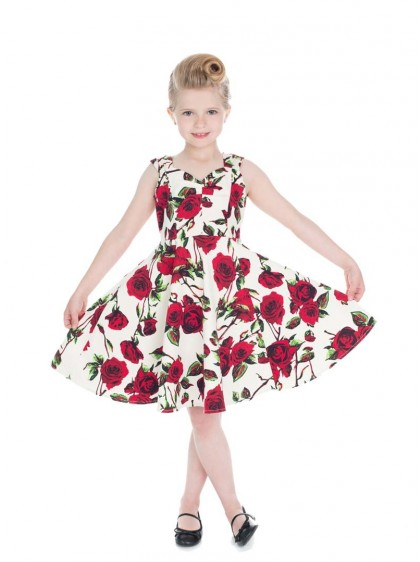 "Robe Enfant Fille Rockabilly Années 50 Vintage HR London ""Ditsy Rose"" - rockangehell.com"