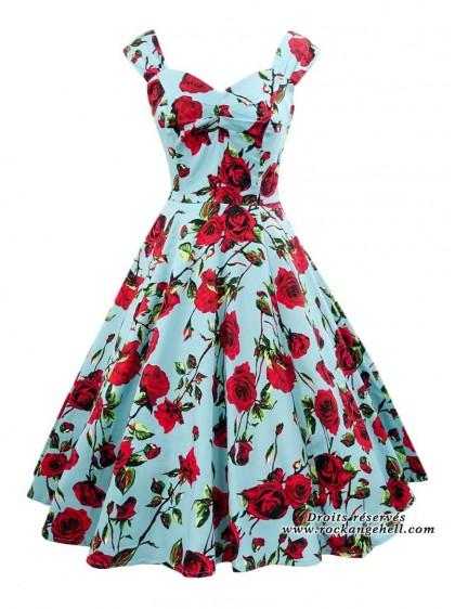 "Robe Pin-Up Années 50 Retro HR London ""Ditsy Rose Floral Blue"" - rockangehell.com"