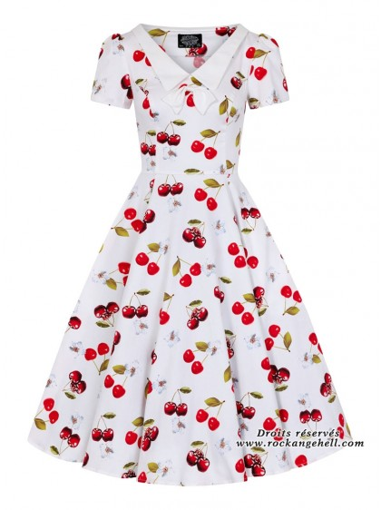 "Robe Années 50 Pin-Up Rockabilly HR London ""Cherry On Top"" - rockangehell.com"