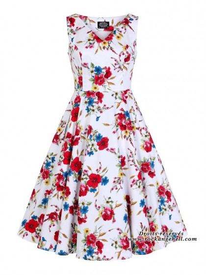 "Robe Pin-Up Retro Années 50 HR London ""Camellia"" - rockangehell.com"