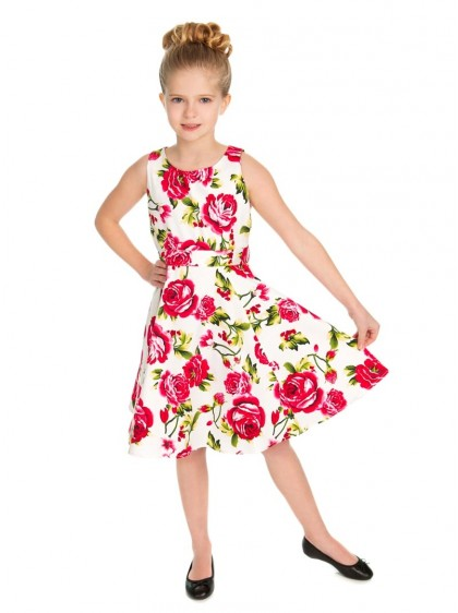 "Robe Enfant Fille Rockabilly Retro Vintage HR London ""Sweet Rose"" - rockangehell.com"