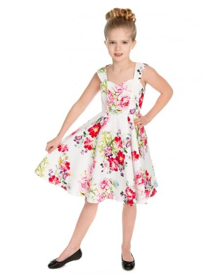 "Robe Enfant Fille Retro Rockabilly Vintage HR London ""Rose Paradise"" - rockangehell.com"