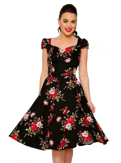 "Robe Rockabilly Retro Pin-Up HR London ""Black Royal Ballet"" - rockangehell.com"