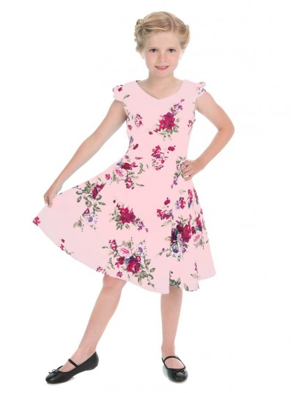 "Robe Enfant Fille Retro Rockabilly HR London ""Pink Royal Ballet"" - rockangehell.com"