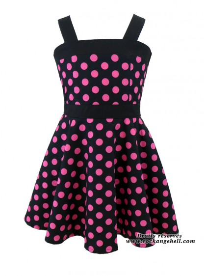 "Robe Enfant Fille Rockabilly Retro Rock Ange'Hell ""Zoe Black Big Pink Dots"" - rockangehell.com"