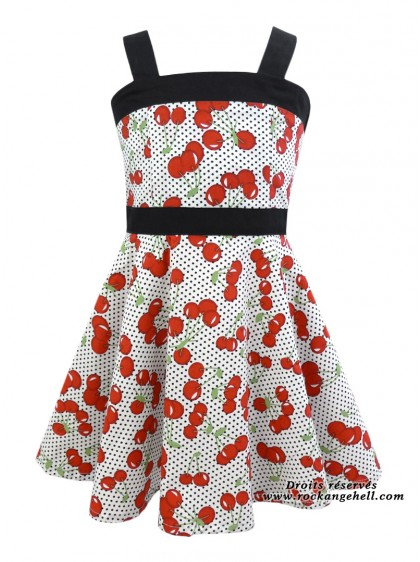 "Robe Enfant Fille Retro Rockabilly Rock Ange'Hell ""Zoe Cherry"" - rockangehell.com"