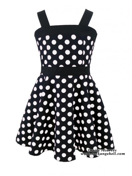 "Robe Enfant Fille Rockabilly Années 50 Rock Ange'Hell ""Zoe Black Big White Dots"" - rockangehell.com"