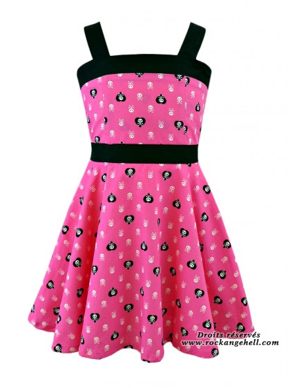 "Robe Enfant Fille Rock Punk Rockabilly Rock Ange'Hell ""Zoe Pink Skull"" - rockangehell.com"